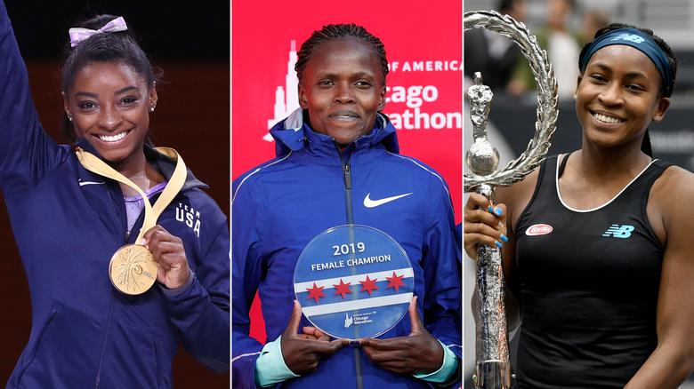 Simone Biles, Coco Gauff e Brigid Kosgei fazem história nos seus respectivos desportos – ginástica, ténis e corrida