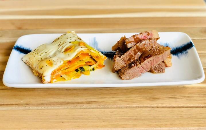 Gratinado de legumes com bife da vazia: sugestão da chef Aline Abreu