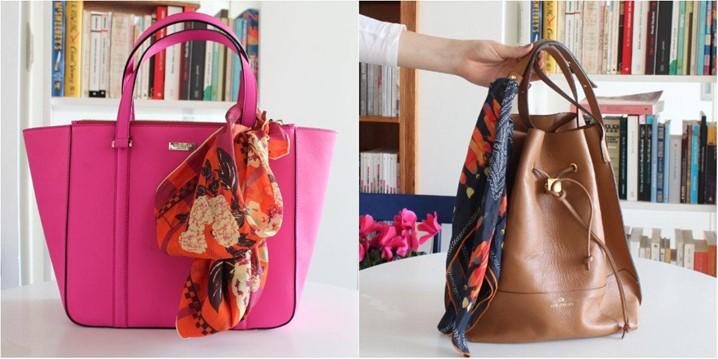 Tendência: amarrar lenços na bolsa fica fashion