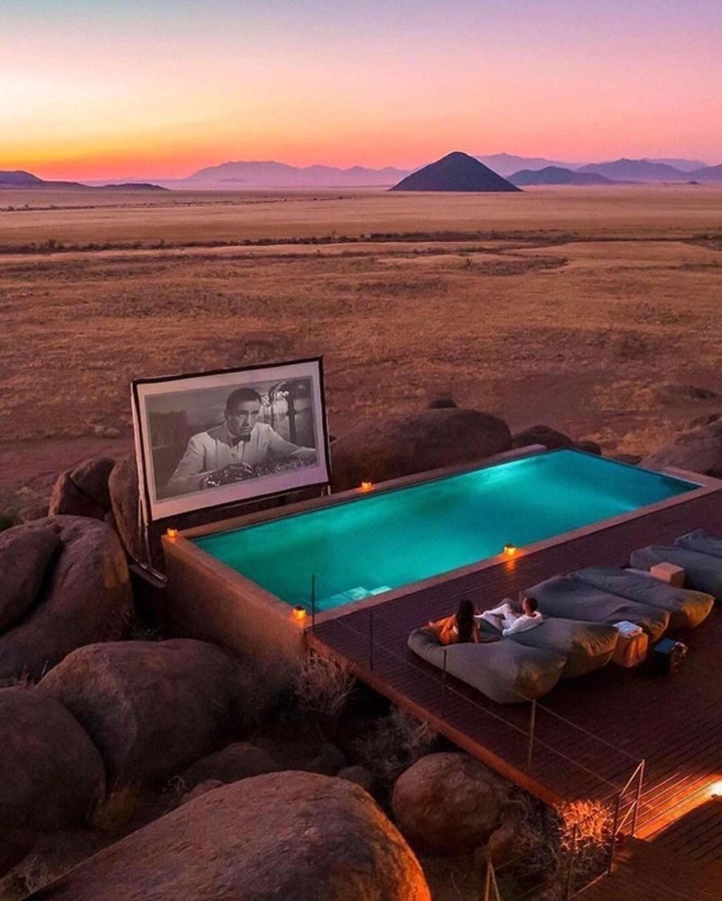 O exótico resort com cinema privado no deserto da Namíbia